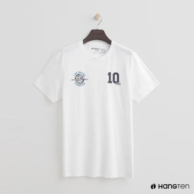 Hang Ten - 男裝 - 有機棉-簡約配色數字logo棉T - 白