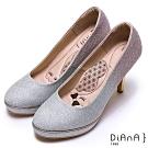 DIANA璀燦漸層鑽石紋防水台高跟鞋(婚鞋推薦)-漫步雲端厚切瞇眼美人-銀粉