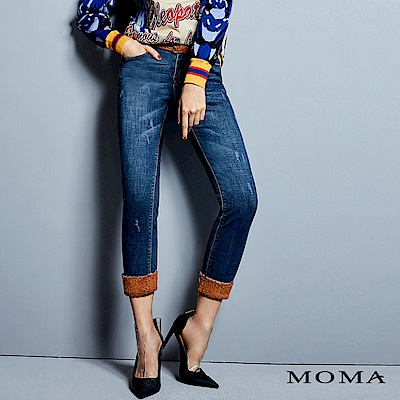 MOMA 泰迪絨拼接牛仔褲