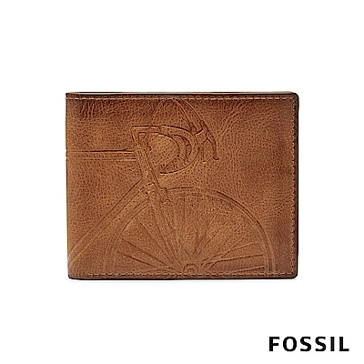 FOSSIL ROYER 單車壓紋真皮證件格RFID男夾-褐色(無鐵盒)