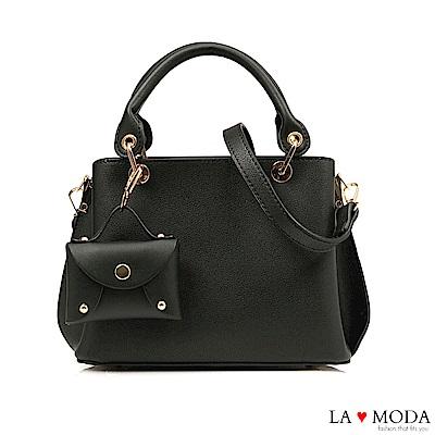 La Moda 精品工藝CUTE小包裝飾大容量肩背手提波士頓包(黑)