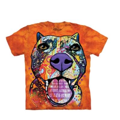 摩達客-美國The Mountain 彩繪叫不咬犬 純棉環保短袖T恤