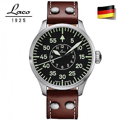 Laco朗坤 夜光飛行機械腕錶-黑/42mm