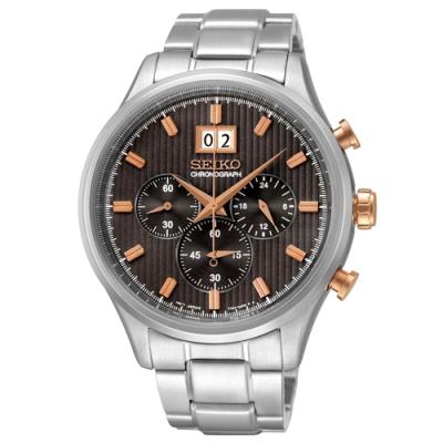 SEIKO精工   玫金紳士指標三眼石英腕錶(SPC151P1)-深灰棕面x42.5mm