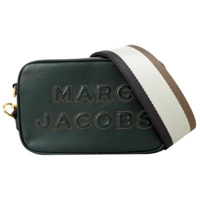MARC JACOBS MJ 壓紋LOGO牛皮拉鍊寬背帶相機包-墨綠