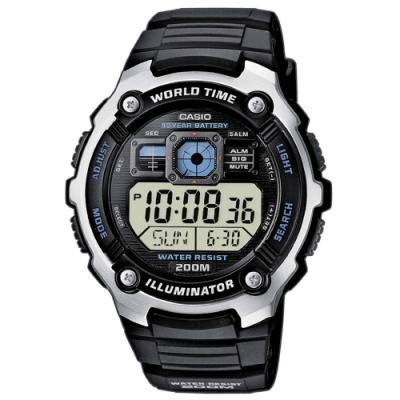 CASIO卡西歐 世界時間電子錶(AE-2000W-1A)