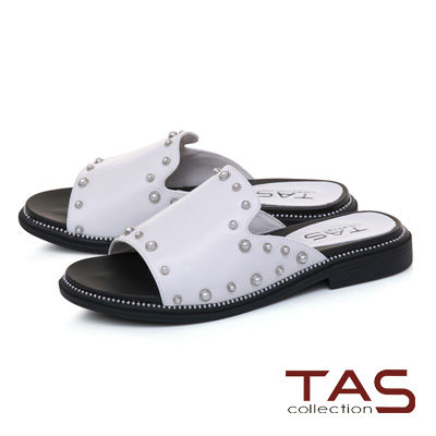 TAS珍珠鉚釘一字寬版牛皮涼拖鞋-亮眼白