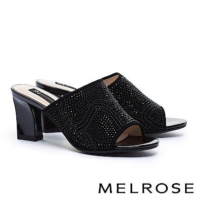 拖鞋 MELROSE 復古奢華晶鑽羊麂皮粗高跟拖鞋-黑