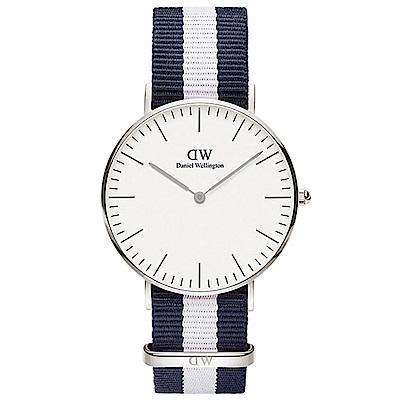 DW手錶 官方旗艦店 36mm銀框 Classic 百搭藍白尼龍帆布手錶