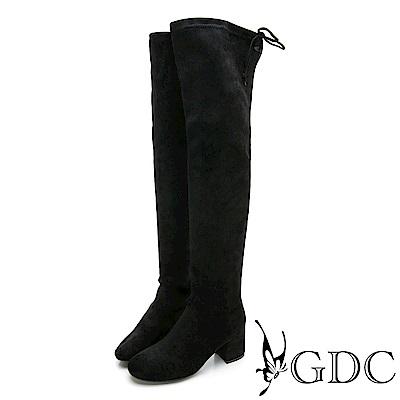 GDC-秋冬不敗款辣妹瘦腿膝上綁帶長筒靴-黑色