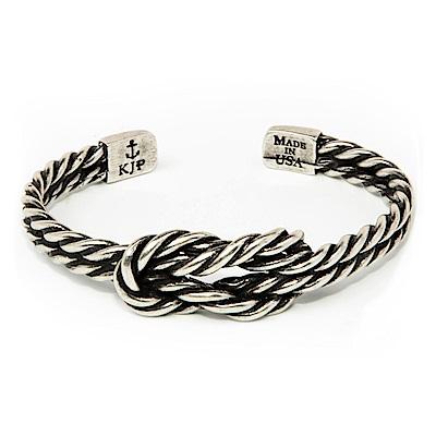 Kiel James Patrick 美國手工船錨幸運水手繩結銀色復古仿舊可調整手環