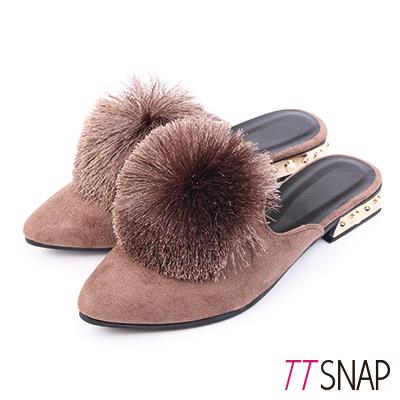 TTSNAP尖頭鞋-細緻絨面溫暖毛球平底穆勒鞋 卡其