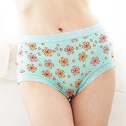 內褲 滿滿花朵100%蠶絲中高腰內褲 (綠) Chlansilk 闕蘭絹