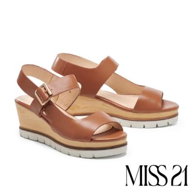 涼鞋 MISS 21 極簡線條剪裁設計楔型厚底涼鞋-咖