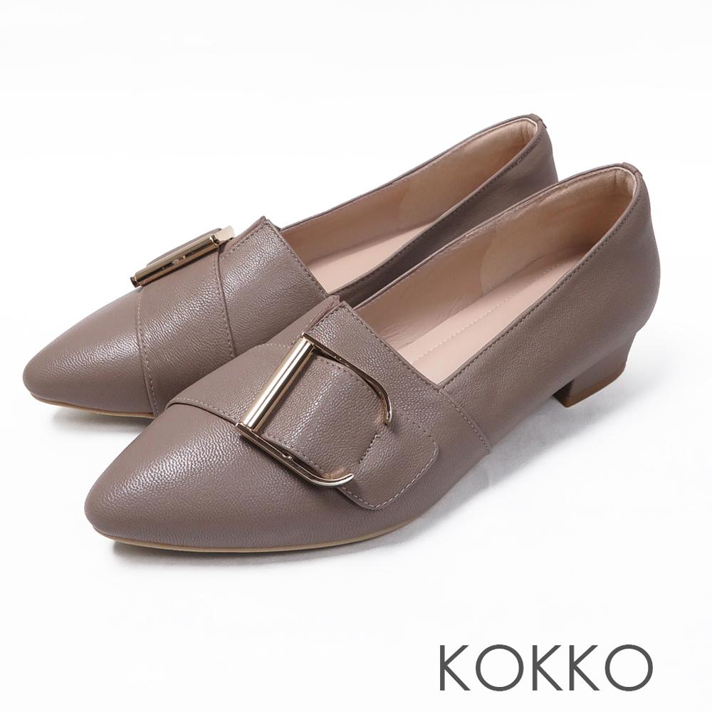 KOKKO - 泰晤士河畔尖頭環扣真皮平底鞋-薄霧灰