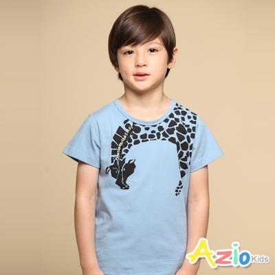 Azio Kids 男童 上衣 立體鬃毛長頸鹿印花短袖上衣T恤(藍)