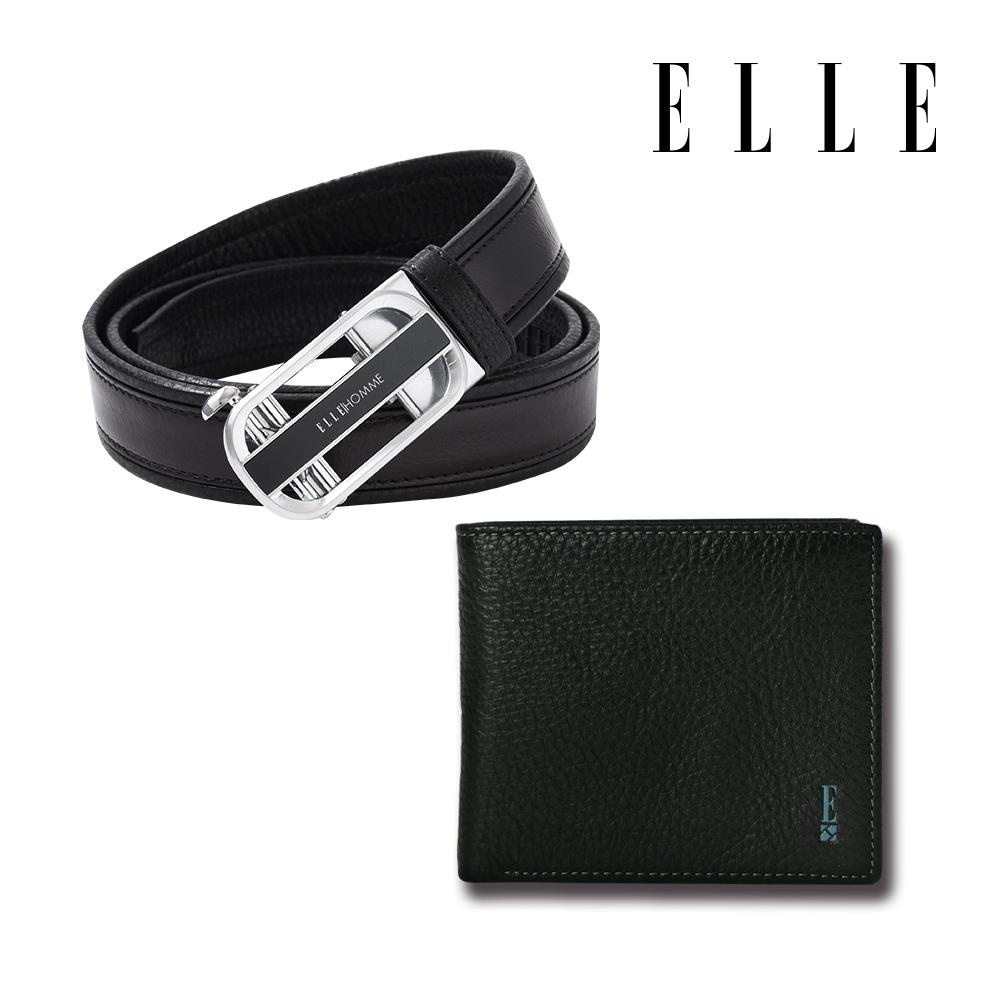 [父親節限定] ELLE 真皮皮帶+皮夾2件組(自動釦皮帶+皮夾/卡夾/零錢包-3款任選)