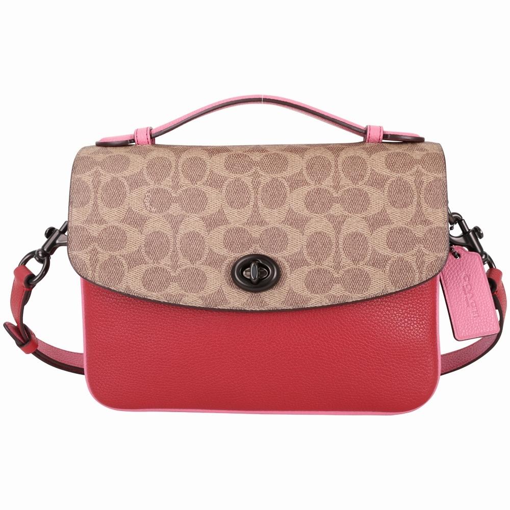 COACH Cassie 經典塗層帆布撞色牛皮手提/側背包(紅色)