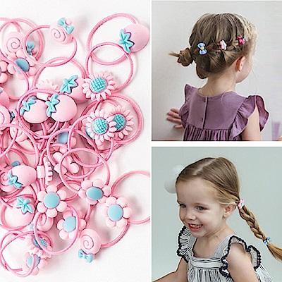 E-dot 可愛童趣造型髮圈髮夾40件盒裝組(粉色)