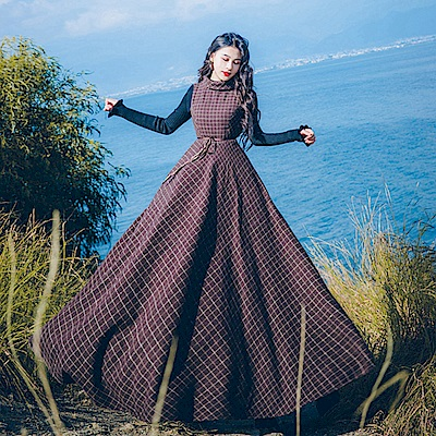 文藝咖啡格紋高領毛呢兩件式連身裙S-L-維拉森林