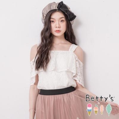 betty's貝蒂思 一字領肩帶蕾絲上衣(白色)