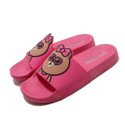 Skechers 涼拖鞋 2ND TAKE 套腳 聯名 舒適 女鞋 熊美 LINE FRIENDS 限定款 粉 棕 31644FUS
