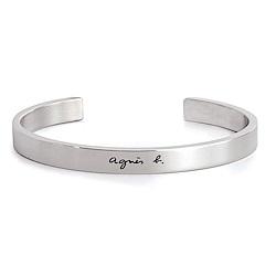 agnes b. logo基本款男性手環(銀)