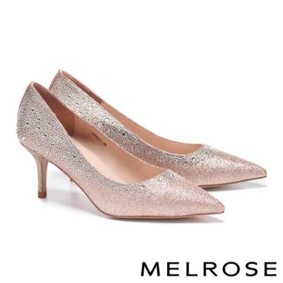 高跟鞋 MELROSE 奢華閃耀漸層晶鑽金蔥布尖頭高跟鞋-粉