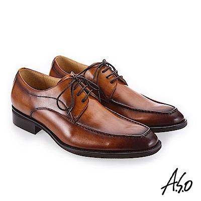 A.S.O 3D超動能 高亮澤度紳士鞋 茶