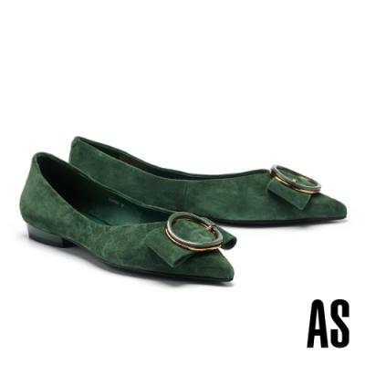 低跟鞋 AS 金屬大圓釦蝴蝶結全羊皮尖頭低跟鞋-綠