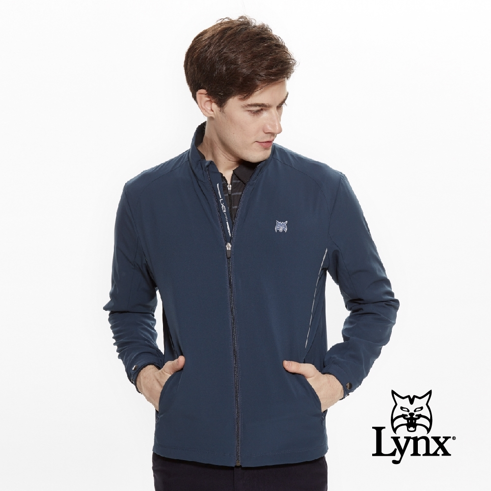 【Lynx Golf】男款防潑水3M反光設計長袖薄外套-藍綠色