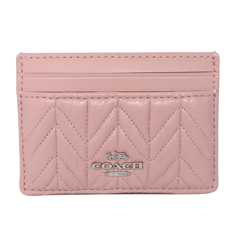COACH粉紅抓摺V紋全皮雙面票卡夾
