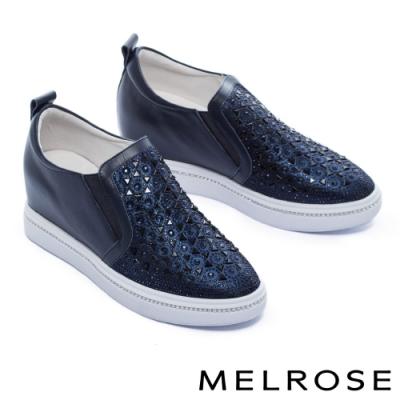 休閒鞋 MELROSE 時尚閃耀晶鑽全真皮內增高厚底休閒鞋-藍
