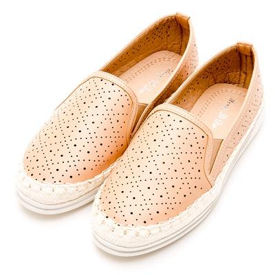 River&Moon中大尺碼-時尚沖孔幾何麻編豆豆休閒鞋-嫩裸膚