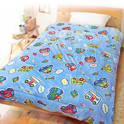 享夢城堡 法蘭絨暖暖毯被150x195cm-小汽車 汽車大集合-藍