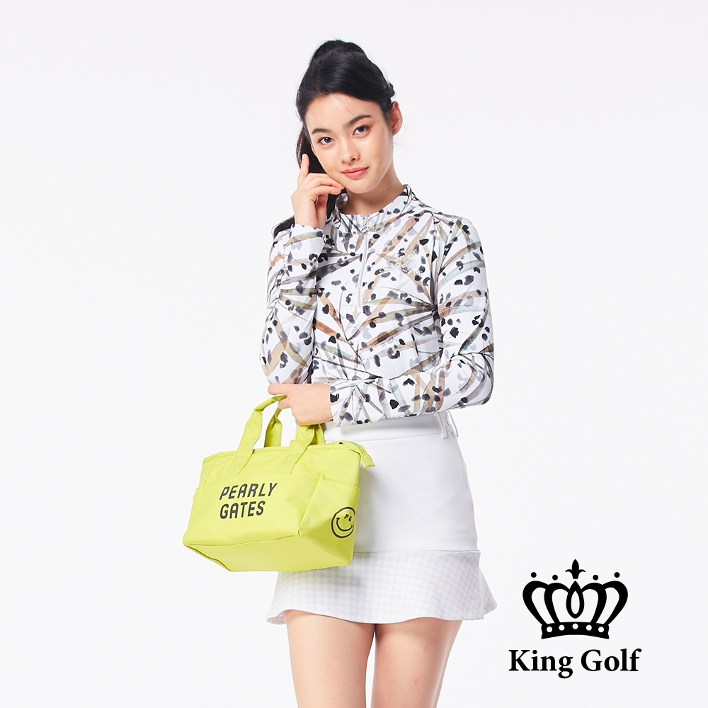【KING GOLF】滿版印花貼鑽小立領拉鍊長袖POLO衫-點點