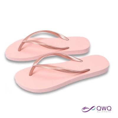 女款平底素面夾腳拖-鞋帶保固-前低後高-海邊度假-Slim窈窕系列-粉金