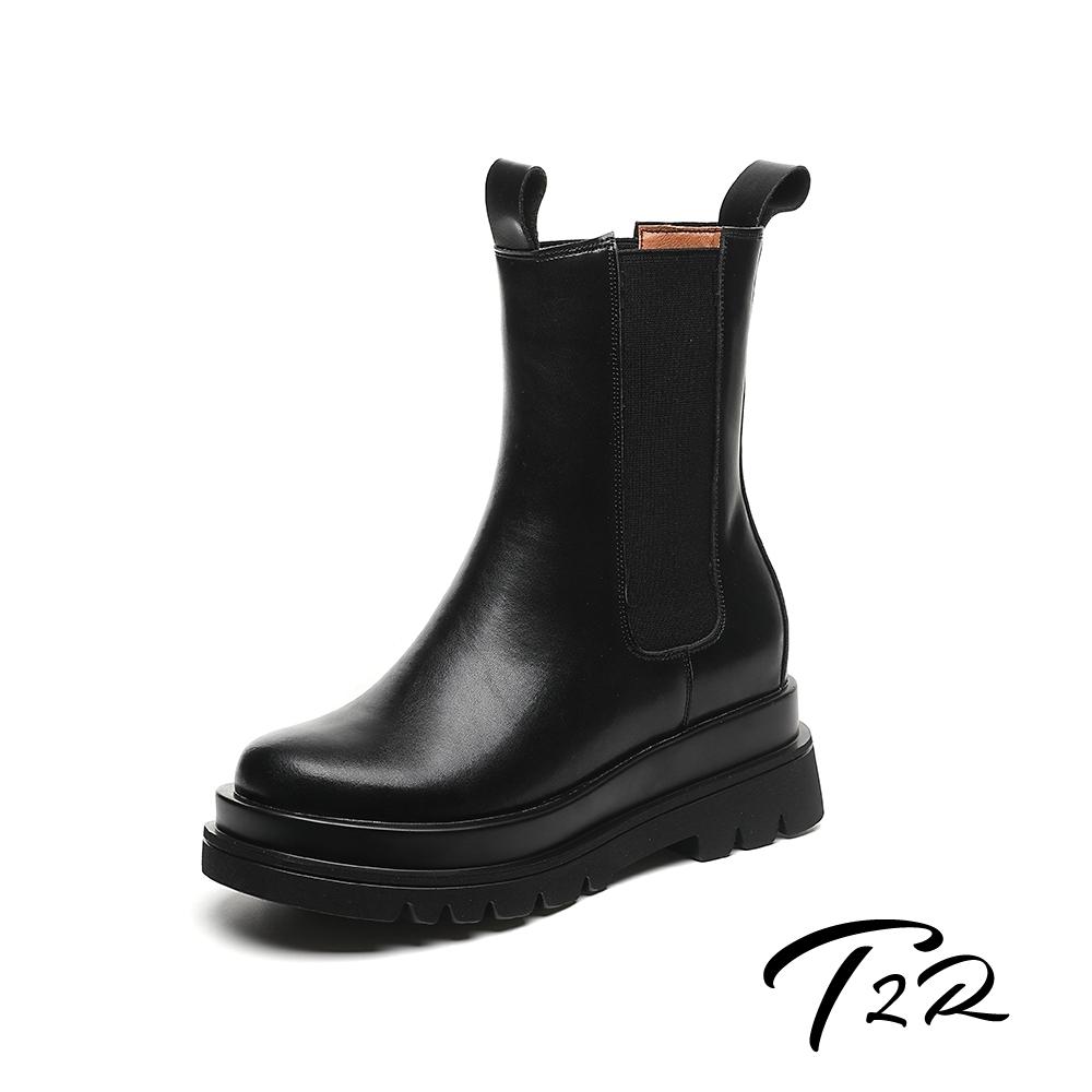 T2R-正韓空運-隱形增高全真皮高筒靴-增高8公分-黑