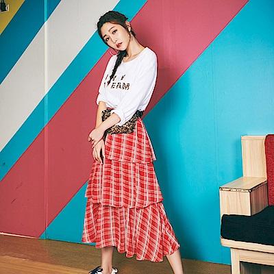 IREAL格紋荷葉多層次鬆緊半身裙