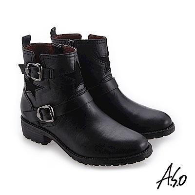 A.S.O 異材質拼接 星星圖示簡約低跟靴 黑