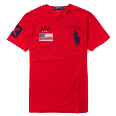 Polo Ralph Lauren 經典刺繡大馬圓領國旗圖案短袖T恤-紅色