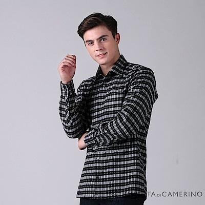 ROBERTA諾貝達 台灣製 防靜電 純棉方格品味長袖厚襯衫 黑白