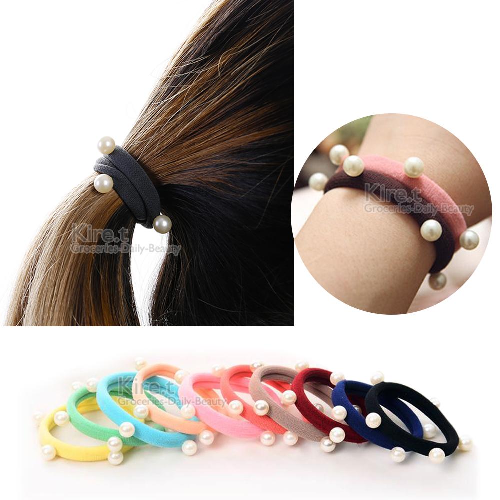 kiret日韓 簡約氣質-基本款 珍珠髮圈 (超值10入) @ Y!購物