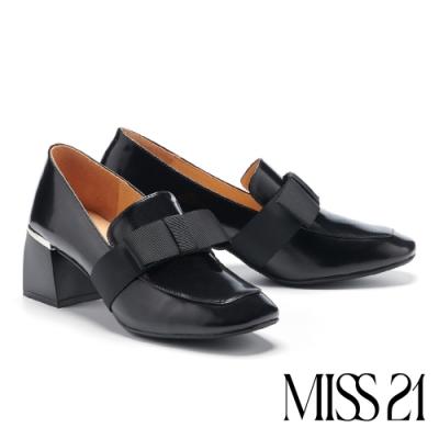 高跟鞋 MISS 21 英倫織帶造型全真皮方頭樂福粗跟鞋-黑