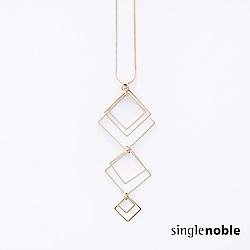獨身貴族 冷冽前衛層疊幾何菱形串接長鍊(1色)