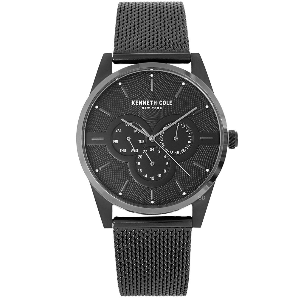 Kenneth Cole 簡約三眼時尚米蘭帶手錶-黑/42mm