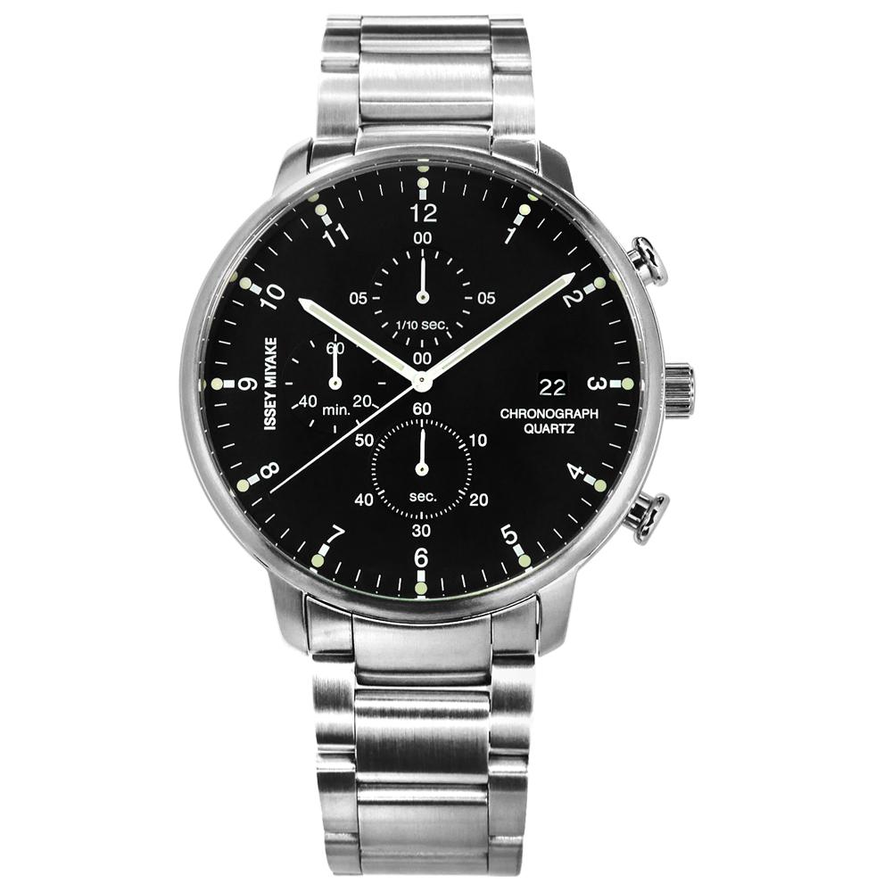 ISSEY MIYAKE 三宅一生 C系列 岩崎一郎計時日期不鏽鋼手錶-黑色/42mm
