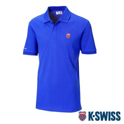 K-SWISS Heritage Logo Patch短袖POLO衫-男-藍