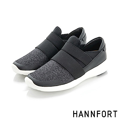 HANNFORT ICE編織魔術帶運動氣墊鞋-女-迷霧黑