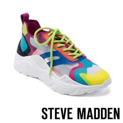 STEVE MADDEN-ASHEN 多彩視覺玩色半透明平底增高休閒鞋-撞色橘